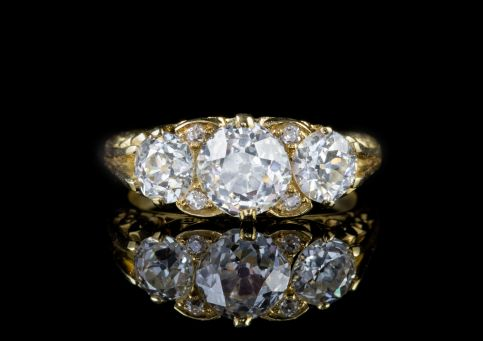 DIAMOND TRILOGY RING 18CT GOLD 3CT OLD EUROPEAN CUT DIAMONDS FULL CERT front
